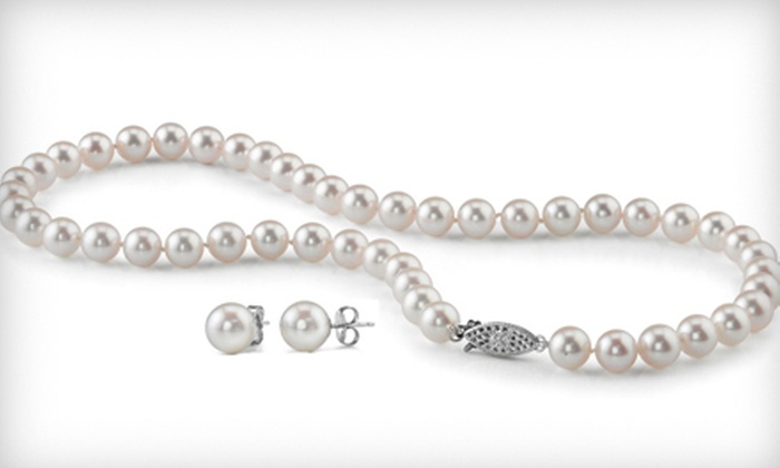 Laguna Pearl: Pearl Earrings, Pearl Necklace, or Both from Laguna Pearl (Up to 49% Off)