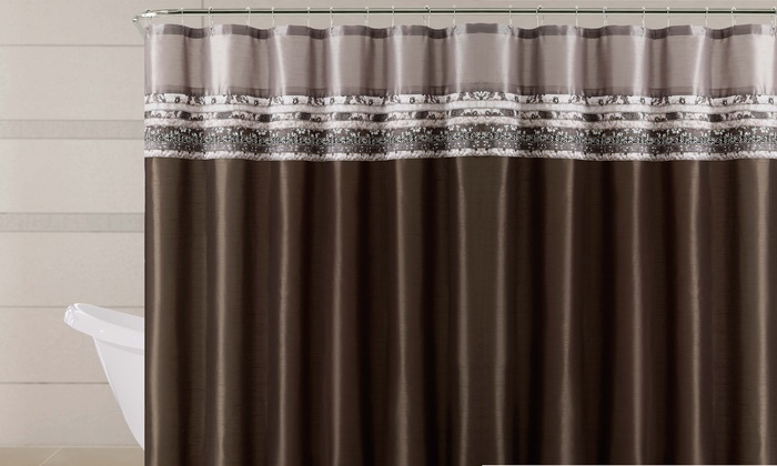 Poetica Faux Silk Shower Curtain With Pieced Fabric