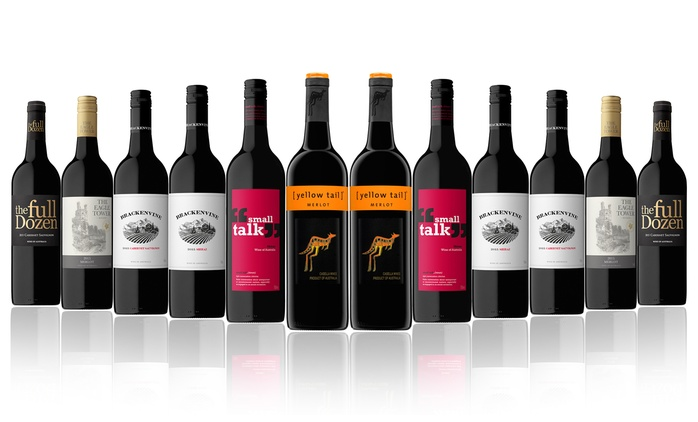 $59 for a Case of 12 Mixed Bottles Of Red Wine Including Yellow Tail (Don't Pay $189)