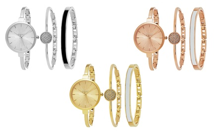 Simple Design Two-Bangle Watch Set