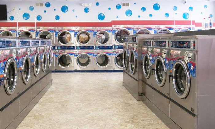 Blue Bubble Express Laundry - Multiple Locations: Self-Service Laundromat Services at Blue Bubble Express Laundry (Up to 60% Off). Two Options Available.