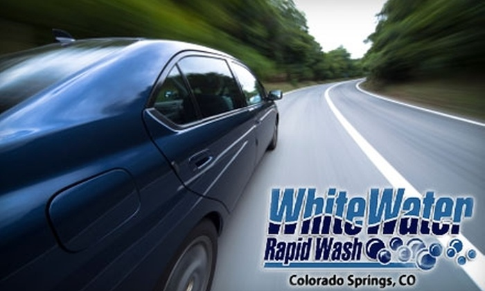 White Water Rapid Wash - Multiple Locations: $10 for Two Works Washes with Protectant Upgrade at White Water Rapid Wash ($24 Value). Choose Between Two Locations.