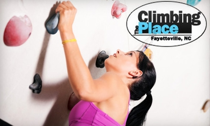 The Climbing Place - Downtown Fayetteville: $10 for One Day of Rock Climbing and a Belay Instruction Class at The Climbing Place (Up to $21 Value)