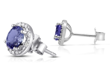 Tanzanite and Diamond Halo Earrings in Sterling Silver