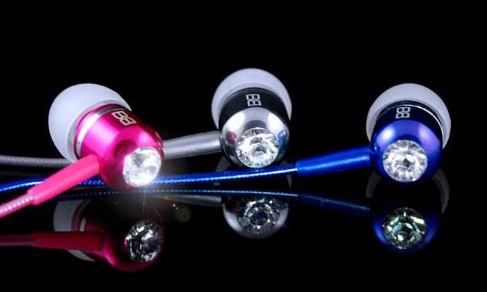 BassBuds Earbuds with Swarovski Elements & Hands Free Mic & Remote: BassBuds Earbuds with Swarovski Elements & Hands Free Mic. Multiple Colors Available.
