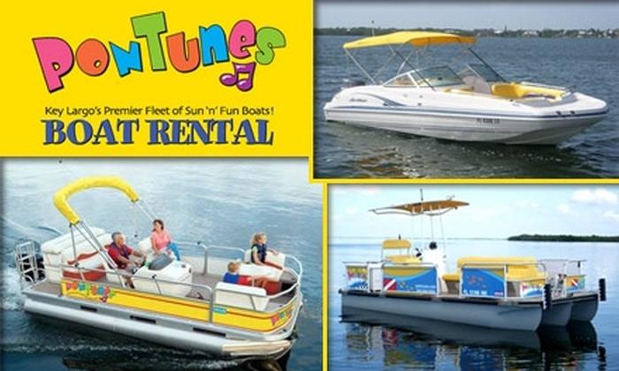 Pontunes - Upper Keys: $90 for a Half-Day Boat Rental from PonTunes ($275 Value)
