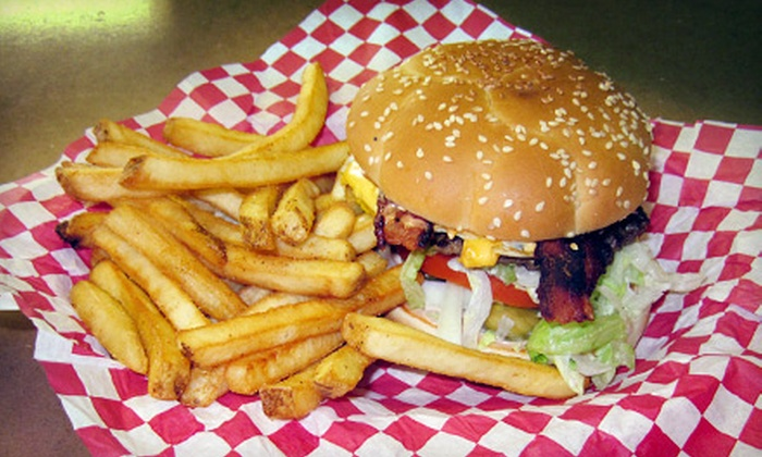 Old Town Burger - Sunnyside: $8 for Two Regular Cheeseburger Baskets with Choice of Side and Drink (Up to $15.98 Value) or $10 for Two Original Gyro Baskets with Choice of Side and Drink (Up to $19.98 Value) at Old Town Burger