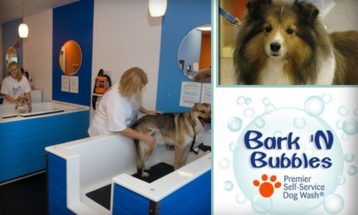 """Bark 'N Bubbles Dog Wash - Multiple Locations: $10 for One """"You Wash"""" Service Plus a Blueberry Facial at Bark 'N Bubbles Dog Wash (Up to $32 Value)"""
