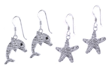 Earrings with Swarovski Elements in Sterling Silver