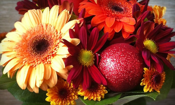 Bouquet Flowers & Gifts - Davisville: $25 for a Holiday Flower Arrangement in a Mason Jar from Bouquet Flowers & Gifts ($50 Value)