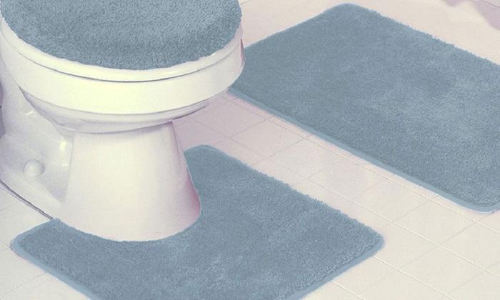 3 Piece Bath Rug Set With Toilet Lid Cover: 3 Piece Bath Rug