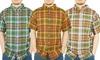 Stanley Men's Short-Sleeved Cotton Plaid Shirts: Stanley Men's Short-Sleeved Cotton Plaid Shirts