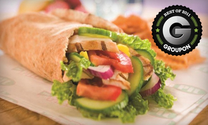 The Pita Pit - Multiple Locations: Pita Meal for Two with Drinks or a 10-Pita Platter at The Pita Pit (Up to 55% Off)