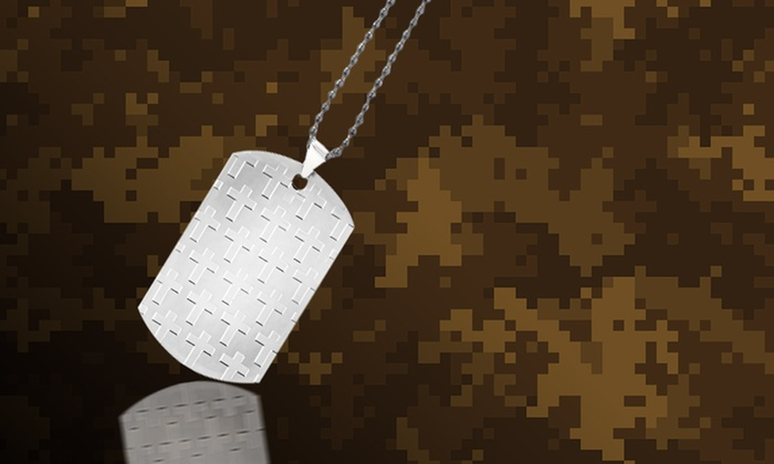Stainless Steel Embossed Cross Dog-Tag Pendant: Stainless Steel Embossed Cross Dog-Tag Pendant.