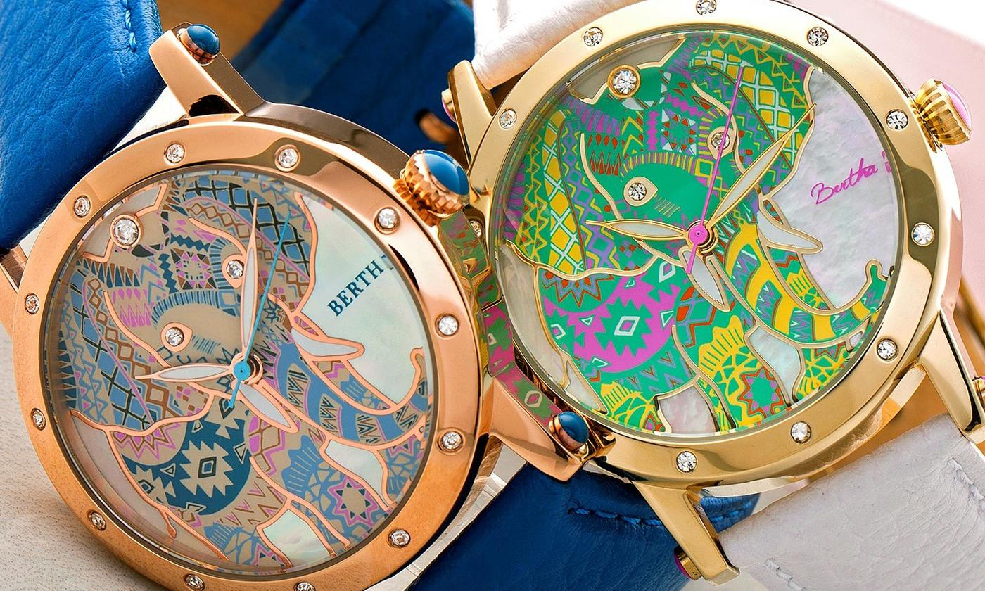 Bertha Betsy Elephant Engraved Mother of Pearl Leather-Band Watch With Free Delivery (£49)