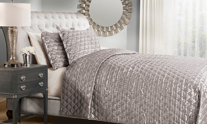 Satin Quilted Coverlet Set Groupon Goods