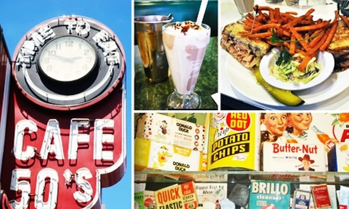 Cafe 50's - Multiple Locations: $8 for $20 Worth of Nostalgic Diner Fare at Cafe 50's