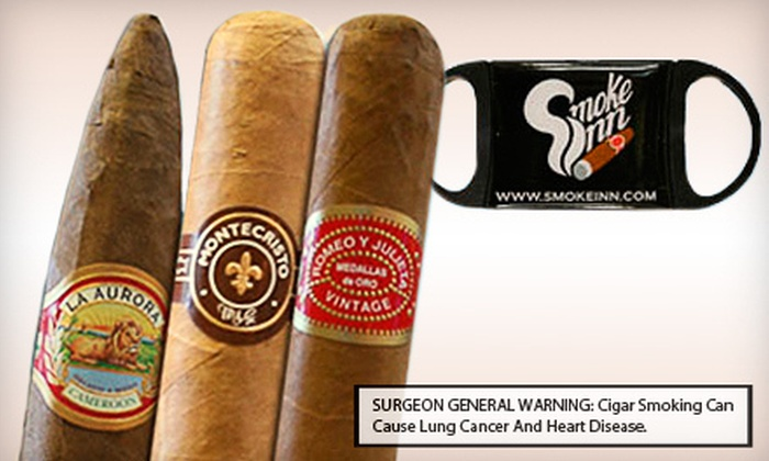 Smoke Inn: Five Cigars and a Smoke's Inn Perfect Cut Cigar Cutter with Shipping Included from Smoke Inn (Up to 59% Off). Three Options Available.