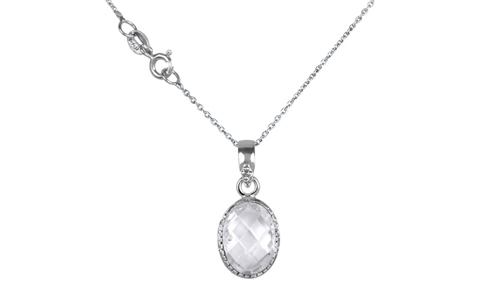 700 ctw white topaz pendant groupon goods 700 ctw genuine white topaz pendant in sterling silver aloadofball Choice Image