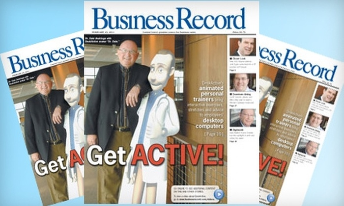 """""""Des Moines Business Record"""": $30 for a One-Year Subscription to the """"Des Moines Business Record"""" ($69.95 Value)"""