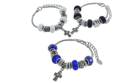 Cross and Murano-Bead Charm Bracelet