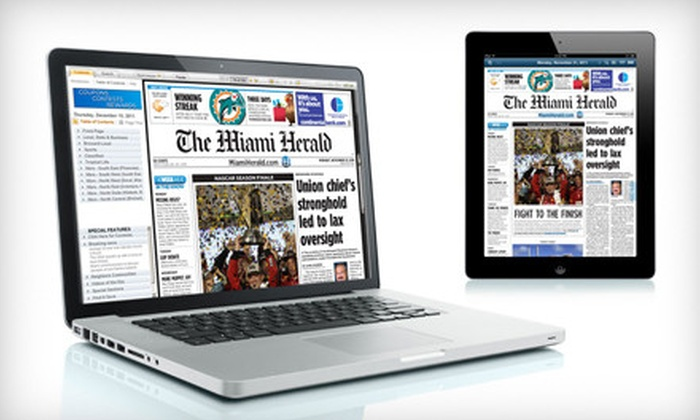"""Miami Herald: $9 for a One-Year Subscription to the """"Miami Herald"""" Digital Newspaper ($19.99 Value)"""