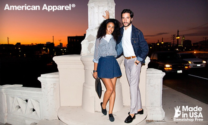 American Apparel - Multiple Locations: $25 for $50 (or $50 for $100) Worth of Clothing and Accessories from American Apparel Online or In-Store. Valid in the US Only.