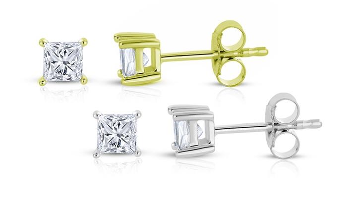 1/3 CTW Princess-Cut Diamond Stud Earrings: 1/3 CTW Princess-Cut Diamond Stud Earrings in 14-Karat Gold