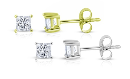 1/3 CTW Princess-Cut Diamond Stud Earrings in 14-Karat Gold