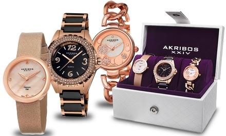 Akribos XXIV Women's Three-Piece Watch Gift Set with Swiss Quartz and Genuine Diamonds