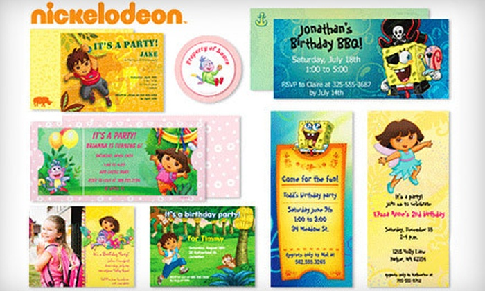 Vistaprint: 20, 30, or 40 Customizable Nickelodeon Invitations with Matching Envelopes and Stickers from Vistaprint (Up to 63% Off)