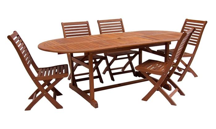 Tavoli con sedie in legno groupon goods for Tavoli allungabili con sedie