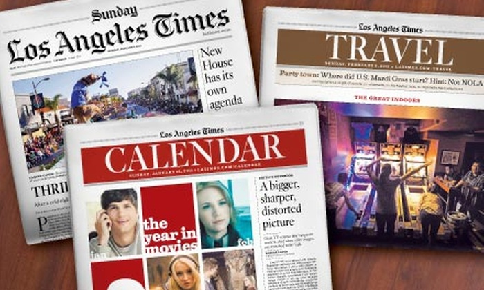 """Los Angeles Times"" - Multiple Locations: $10 for a 52-Week Subscription to the Sunday Edition of the Los Angeles Times ($52 Value)"