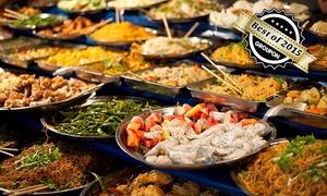 Mongolisches Restaurant Dschingis Khan: Fernöstliches All-you-can-eat-Buffet für Zwei im Mongolischen Restaurant Dschingis Khan für 19,90 €