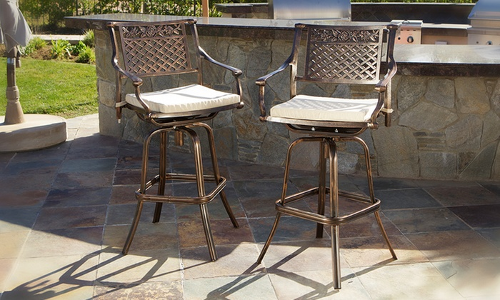 Two Aluminum Swivel Bar Stools Groupon Goods