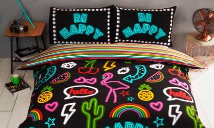 Rapport Home Be Happy Neon Design Duvet Set