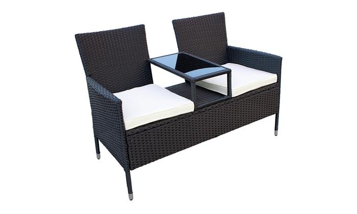 si ge de jardin en poly rotin groupon. Black Bedroom Furniture Sets. Home Design Ideas
