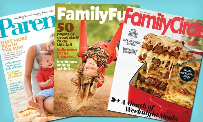 "Home and Family Magazine Subscriptions: $7 for a Two-Year Subscription to ""Family Circle,"" ""Parents,"" or ""FamilyFun"" (Up to $29.94 List Price). Free Shipping."