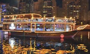 Rikks Floating Restaurant Dubai: Marina Dhow Dinner Cruise for Up to Four on Rikks Floating Restaurant Dubai