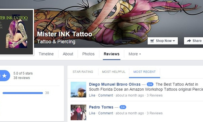 Mister Ink Tattoo - Multiple Locations: Up to 62% Off Tattooing  at Mister Ink Tattoo