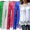 Women's Floral Crochet Sleeve Top