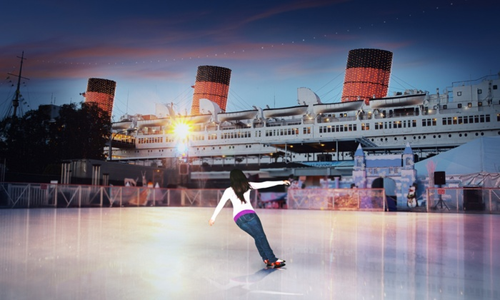 "Queen Mary Events - Long Beach, CA: $10 for Ice Skating with Skate Rental on ""Queen Mary"" ($15 Value). 8 Options Available."