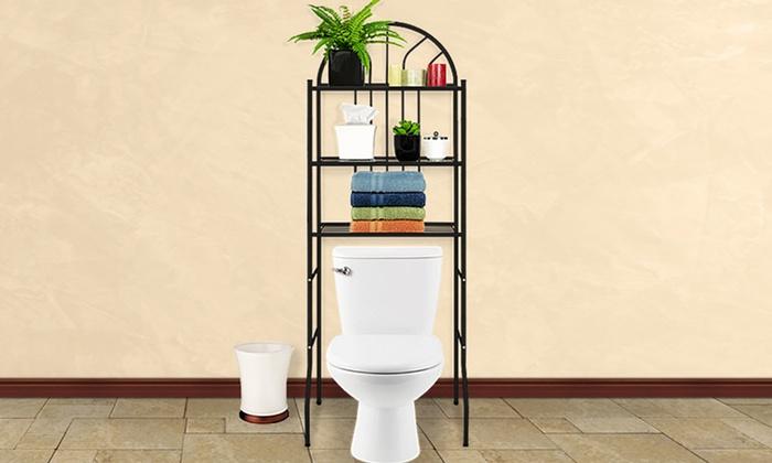 Three-Level Metal Bathroom Shelf: Three-Level Space-Saving Metal Bathroom Shelf. Multiple Colors Available. Free Returns.