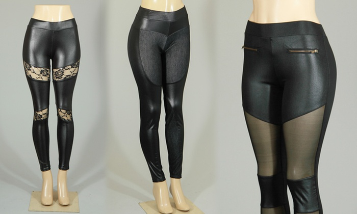 Sunrise Design Black Pleather Leggings with Paneling: Sunrise Design Black Pleather Leggings with Denim, Lace, or Mesh Paneling. Free Returns.
