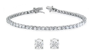 Solitaire Stud Earrings And Tennis Bracelet Set Made With Swarovski Elements Crystals