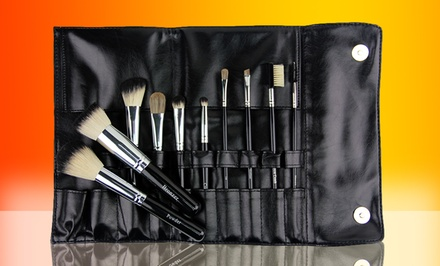 groupon daily deal - 10-Piece Italian Badger Makeup-Brush Set