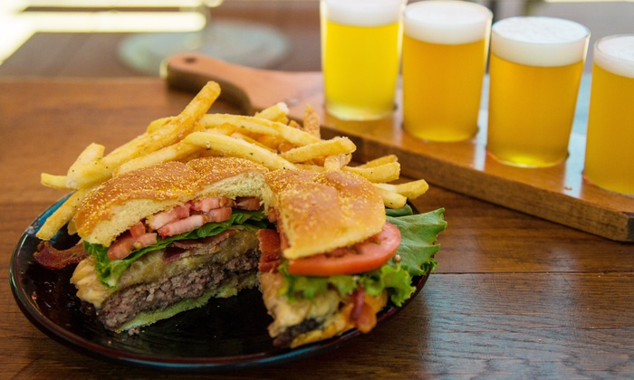 Anheuser-Busch Biergarten - Anheuser Busch Brewery: Beer Flights and Burgers for Two or Four at Anheuser-Busch Biergarten (Up to 43% Off)