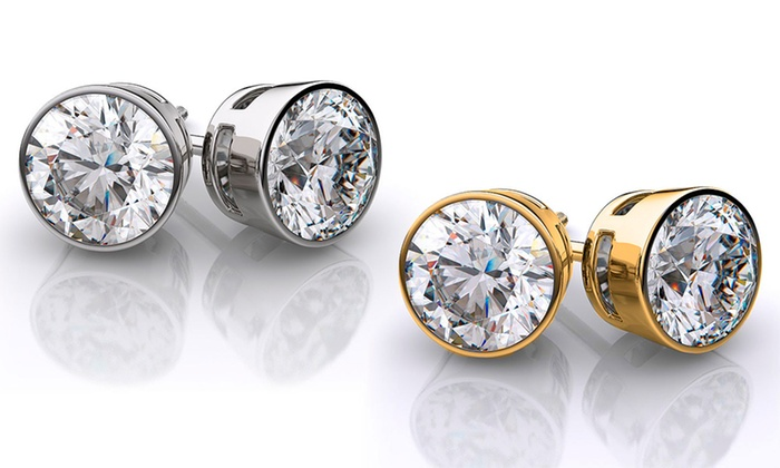 2 00 Cttw Cubic Zirconia Earrings In 14k Gold Or White Plating