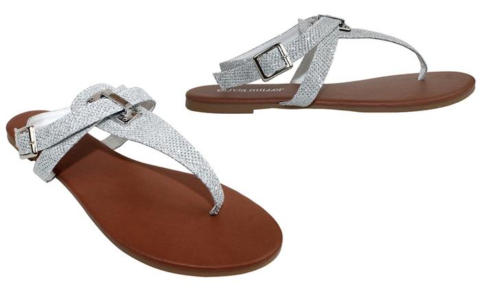 Olivia Miller Verona Women's Shimmer Crisscross Sandals