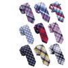 9 Plaid Skinny Ties and 2 Tie Clips Bundle